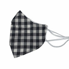 Load image into Gallery viewer, Cotton Face Mask : Black and White Tartan