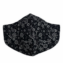 Load image into Gallery viewer, Cotton Face Mask : Black Paisley