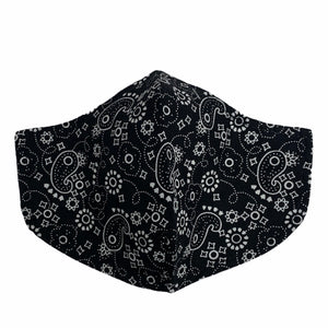 Cotton Face Mask : Black Paisley