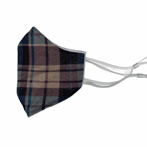 Cotton Face Mask : Blue and Brown Plaid
