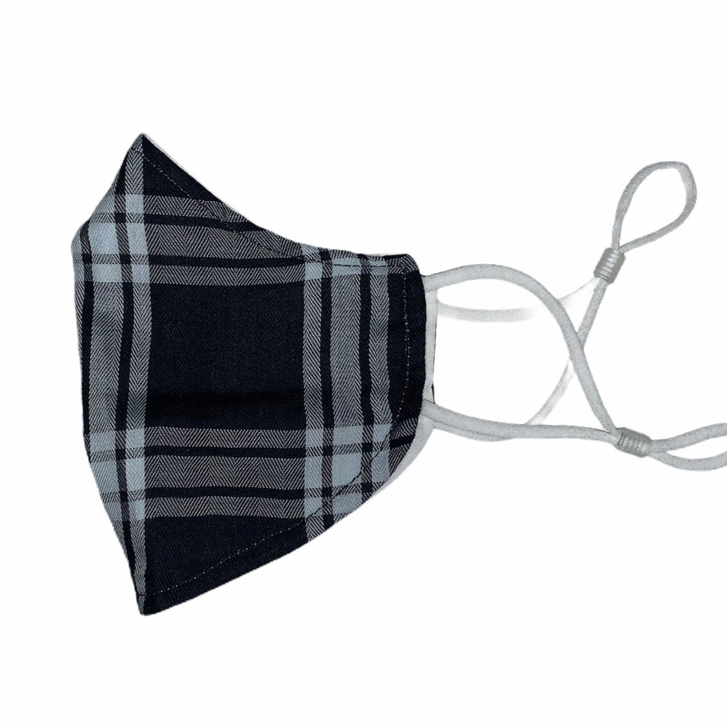 Cotton Face Mask : Black and White Plaid