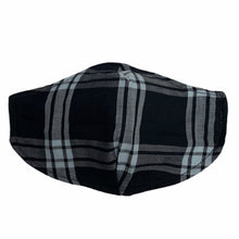 Load image into Gallery viewer, Cotton Face Mask : Black and White Plaid