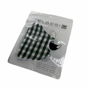 Cotton Face Mask : Green and White Tartan