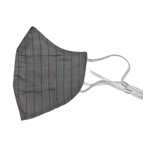 Cotton Face Mask : Grey Windowpane Checkers