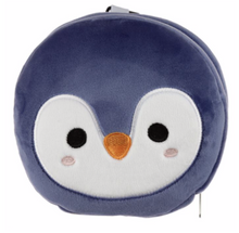Load image into Gallery viewer, Plush animal travel pillow and eyemask:Blue Penguin