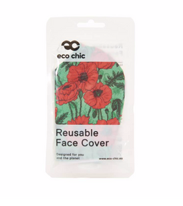 Face Cover - Green Poppies