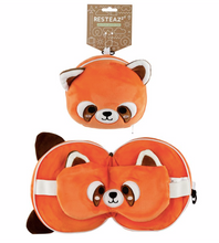 Load image into Gallery viewer, Plush animal travel pillow and eyemask: Red Panda