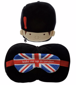 Plush animal travel pillow and eyemask:Guardsman