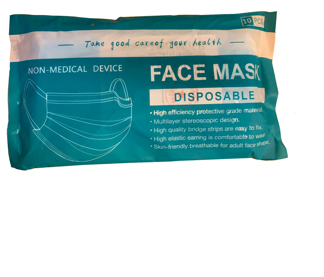 Disposable face masks: Pack of 10