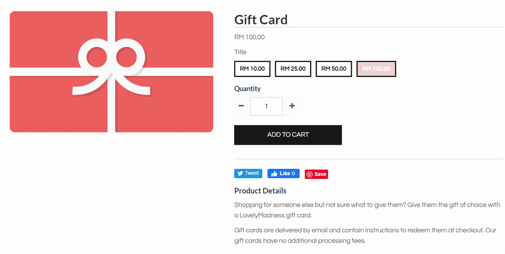 Gift card product example