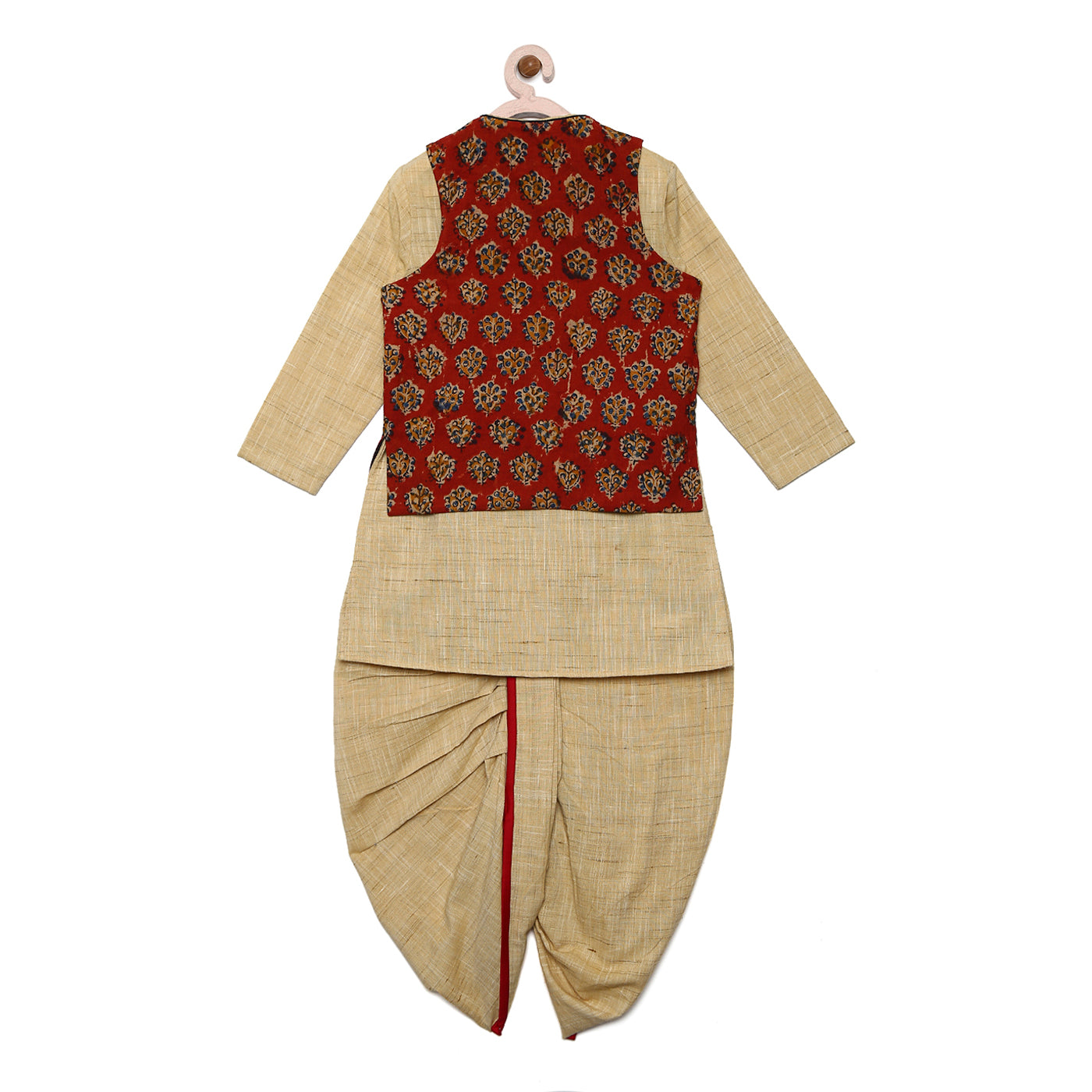 Boy Maroon Ajrakh 3 Pc Kurta Set