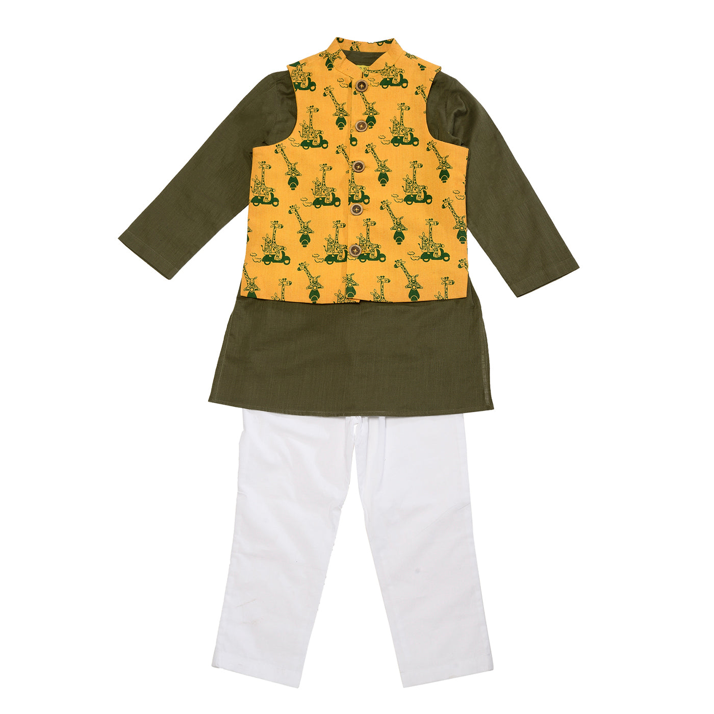 Boy Jungle Print Mustard 3 Pc Bundi Set