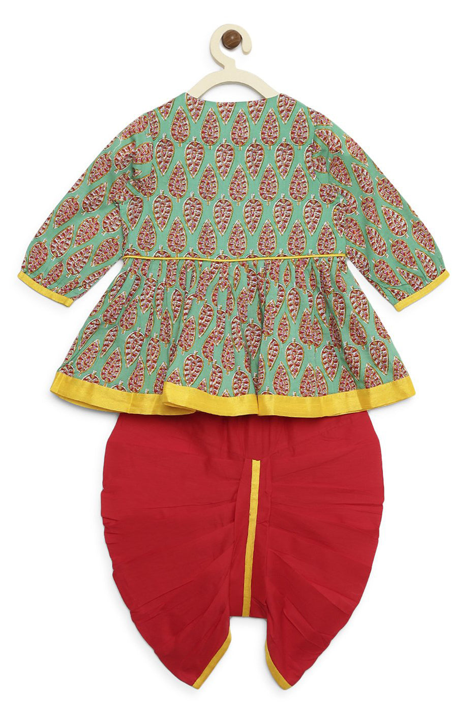 Girl Green red Parrot Angrakha Dhoti Set