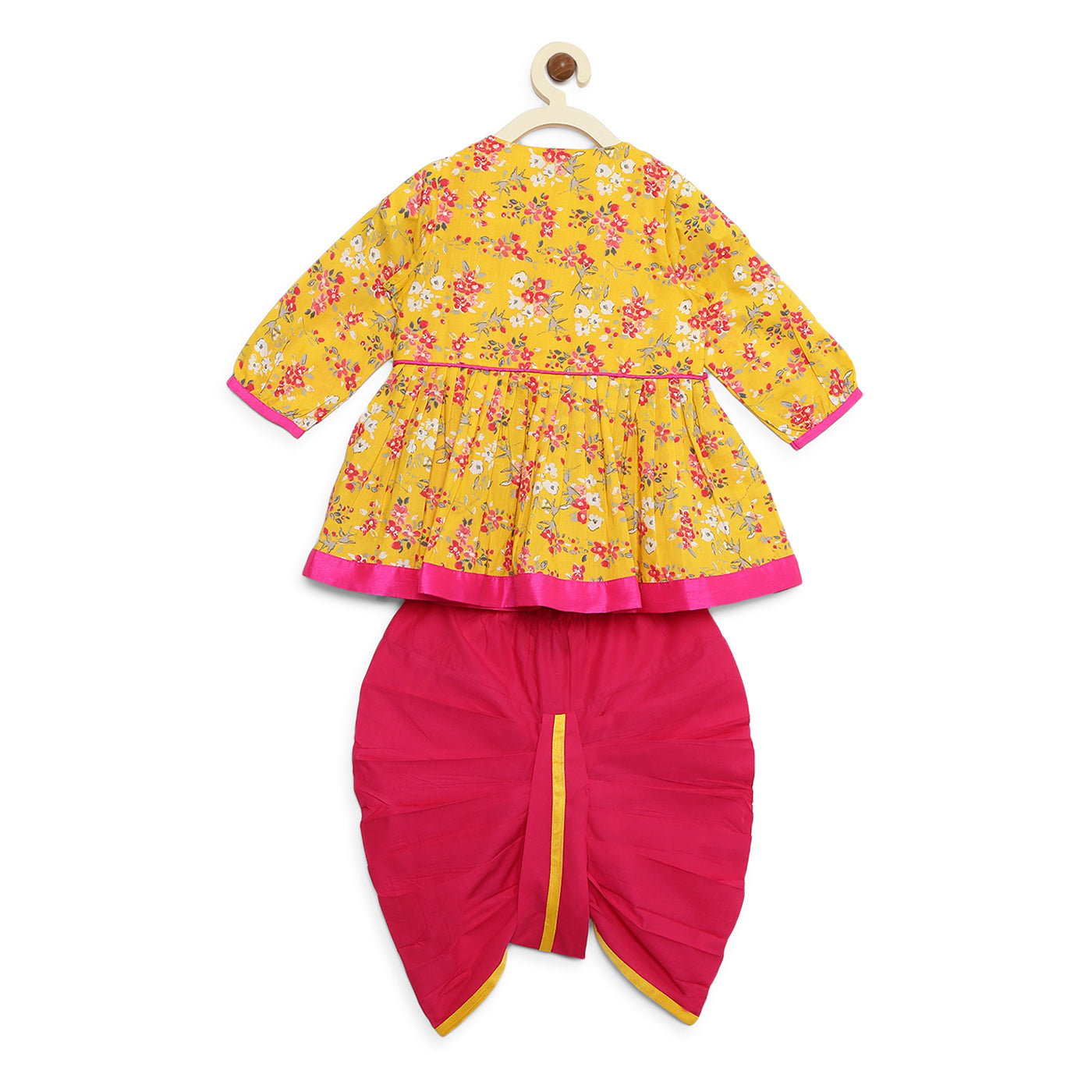 Girl Yellow pink Floral Angrakha Dhoti Set