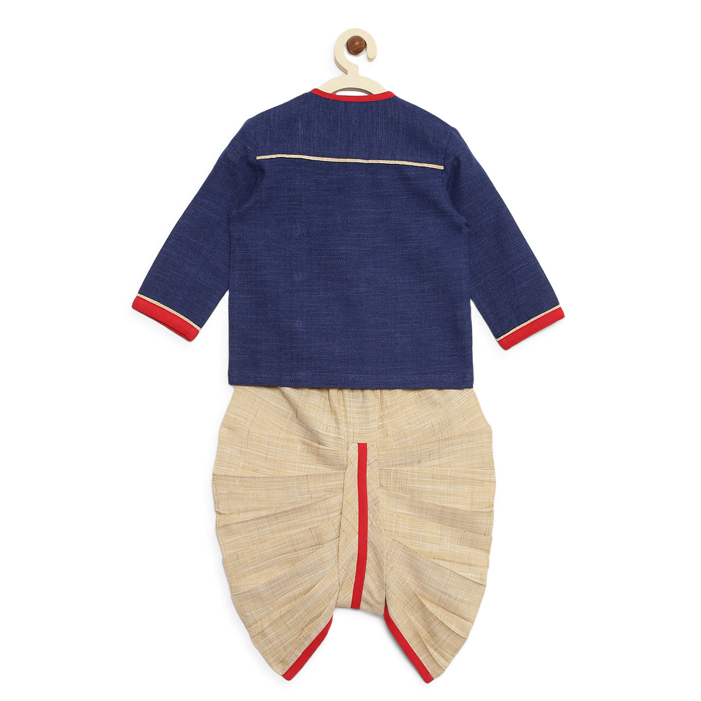 Baby Boy Blue Denim Parrot Kurta Dhoti Set