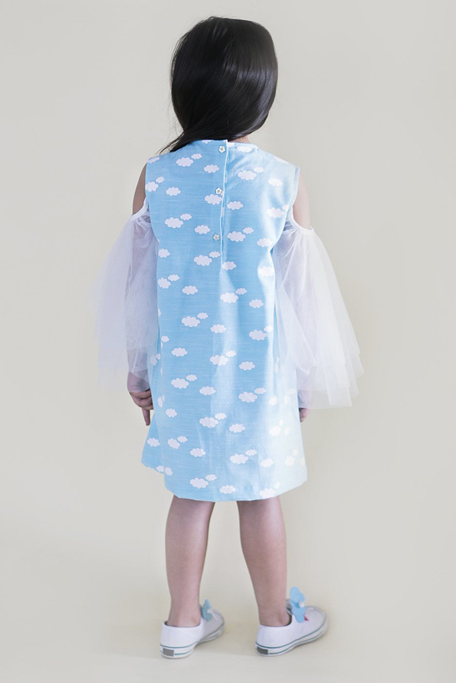 Girl Blue Cloud Print Cold Shoulder Dress