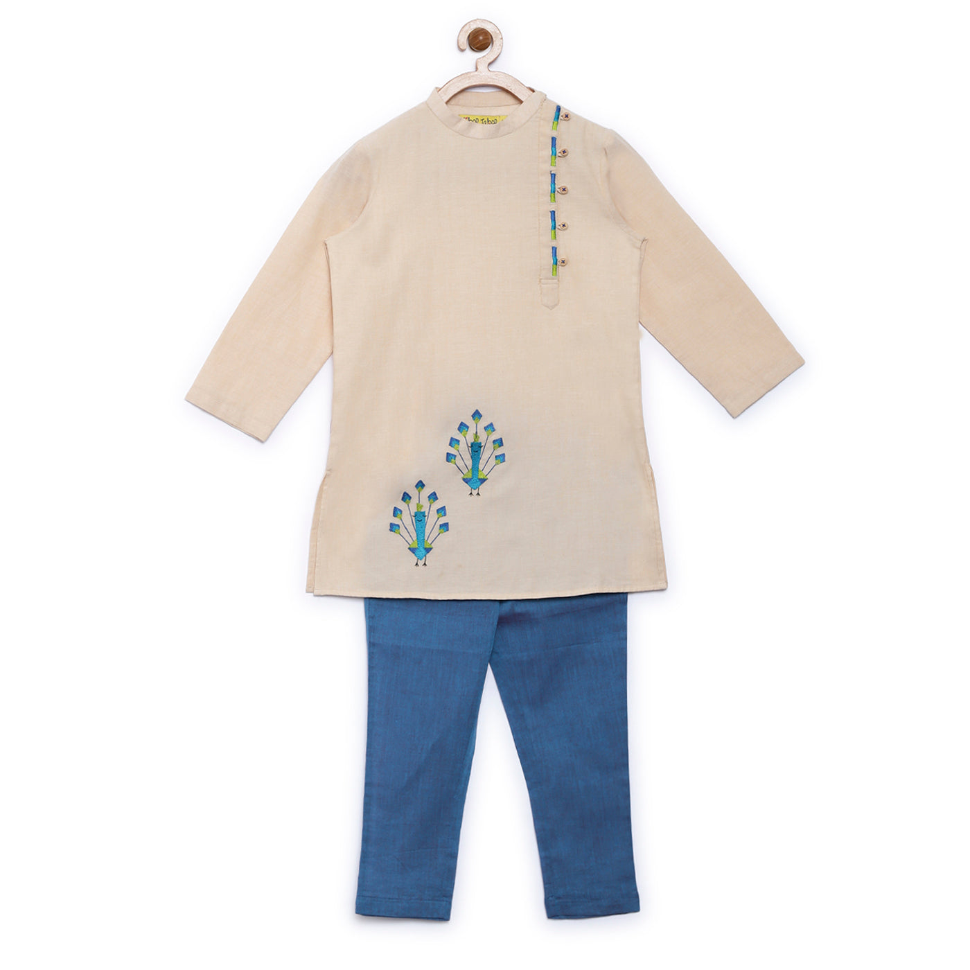 Boy Beige Peacock Kurta Set