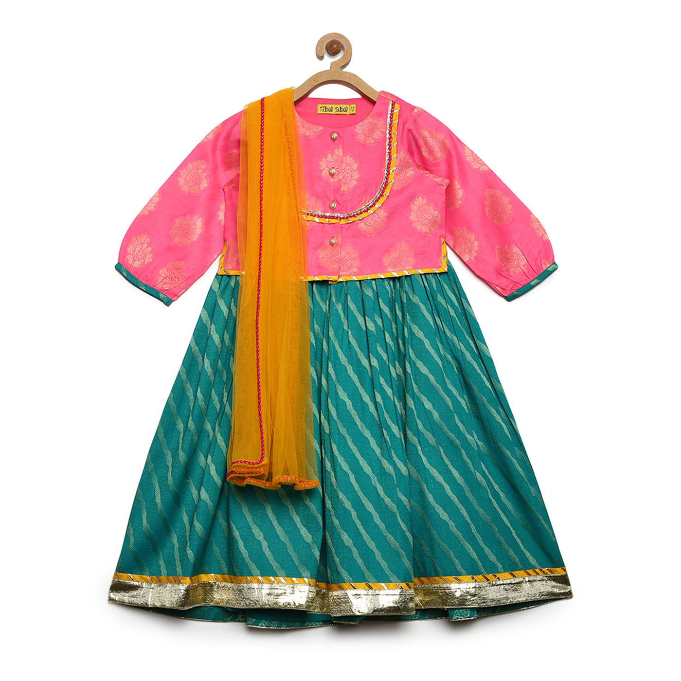 Girl Baby Pink- Teal 3 Pc Lehenga Set
