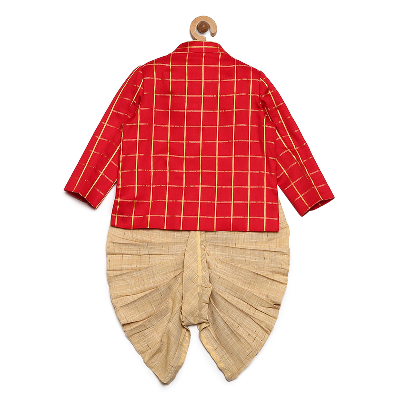Baby Boy Red Check Bandhgala Dhoti Set