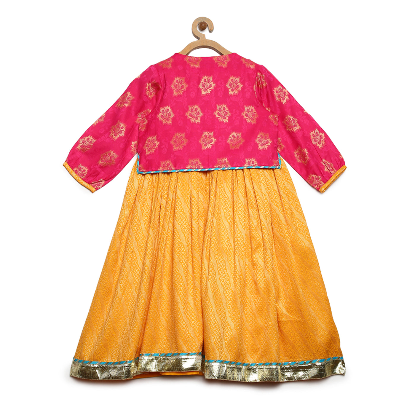 Girl Pink- Yellow 3 Pc Lehenga Set