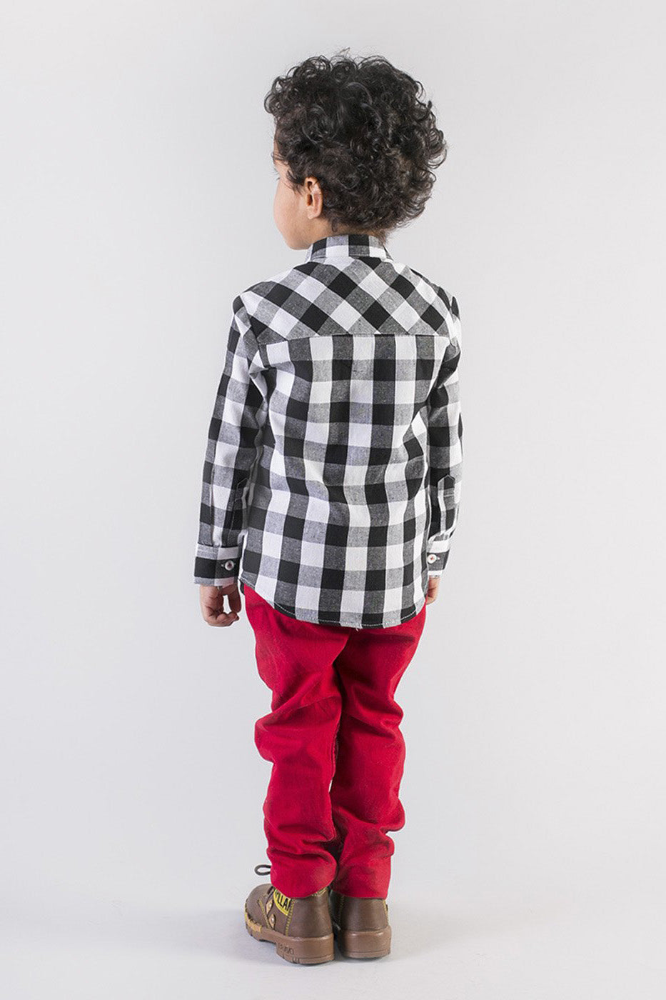 Boy Black Checks Zebra Shirt