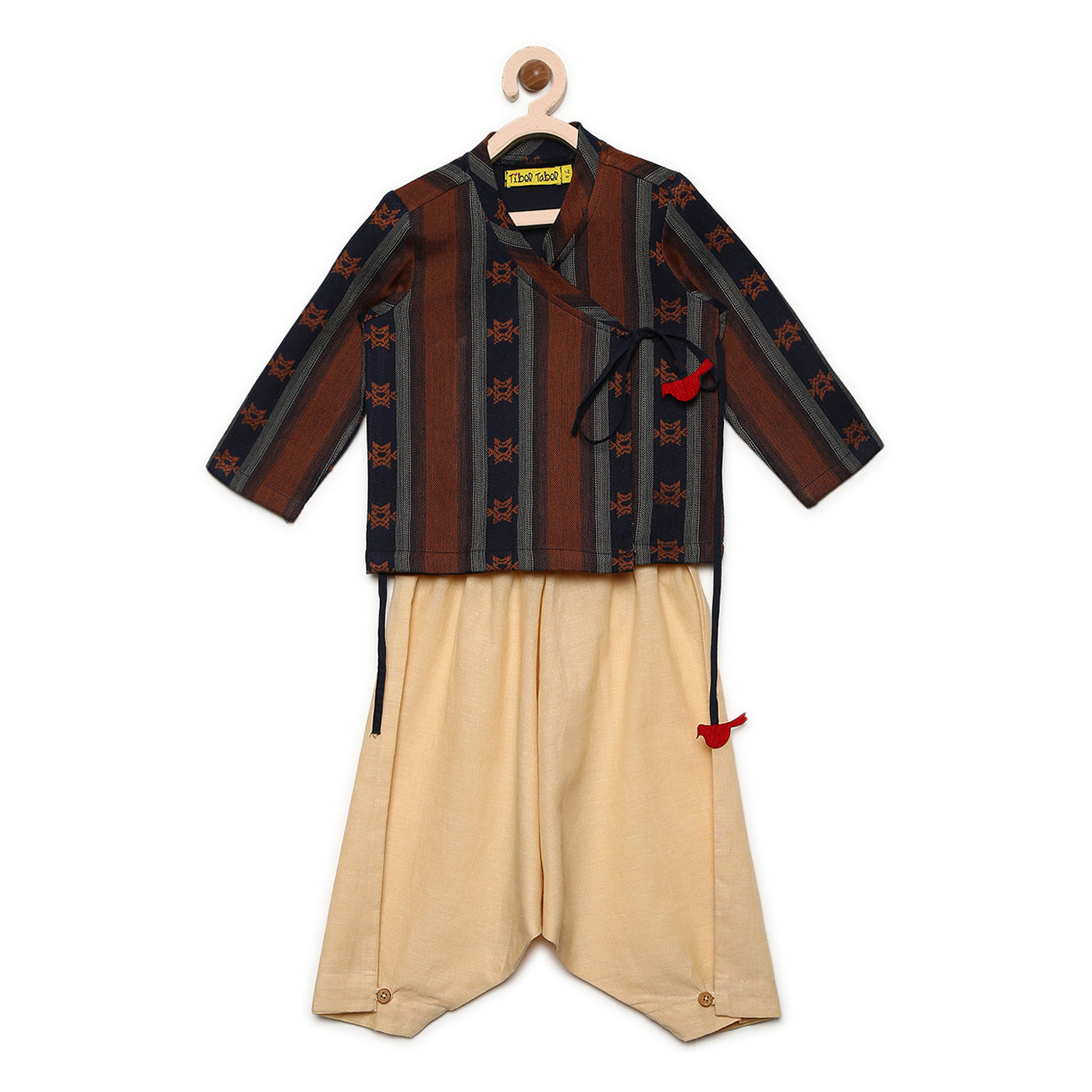Boy Brown Jaquard Dhoti Set