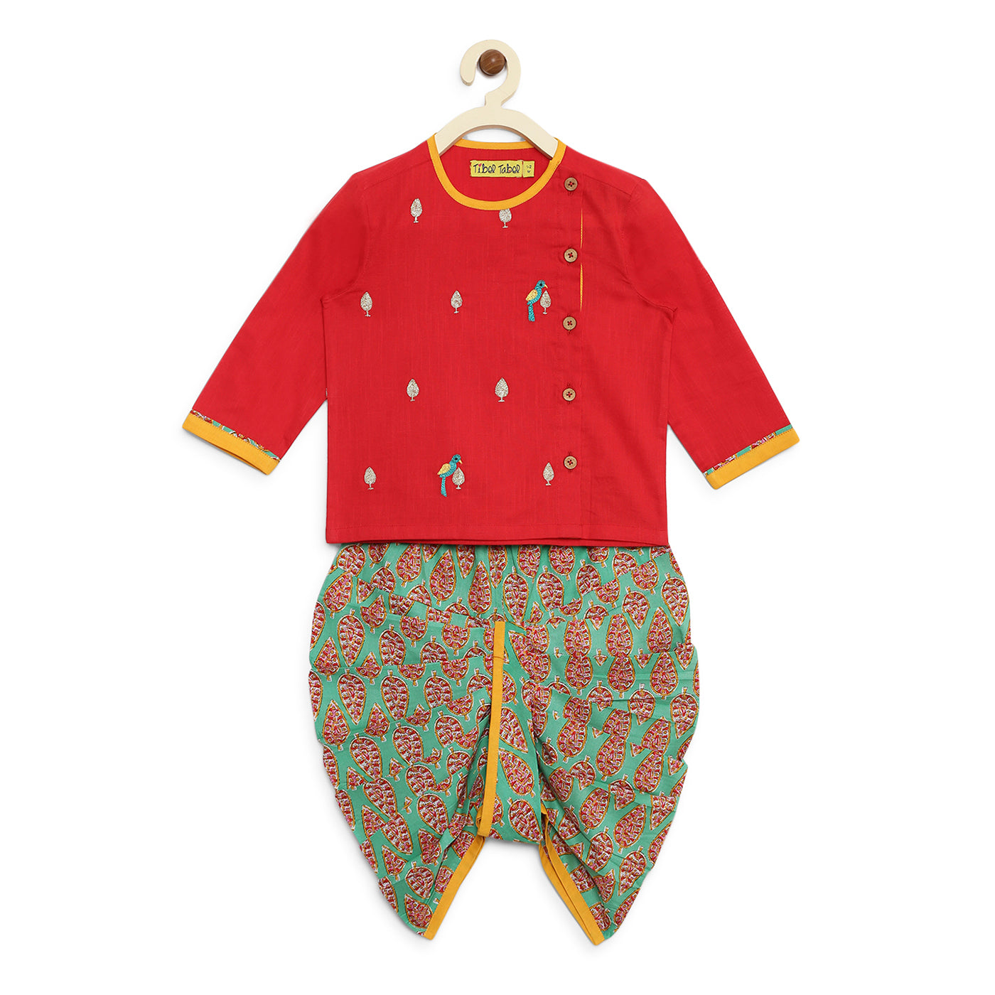 Baby Boy Red Parrot Kurta Dhoti Set