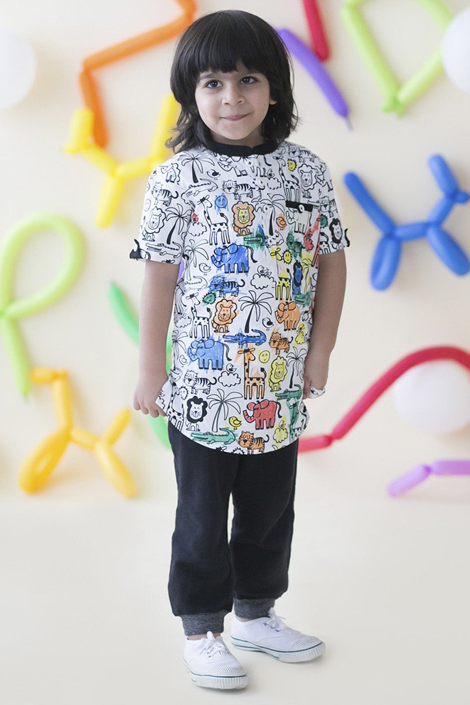 Boy Glow & Color Jungle Print Kurta