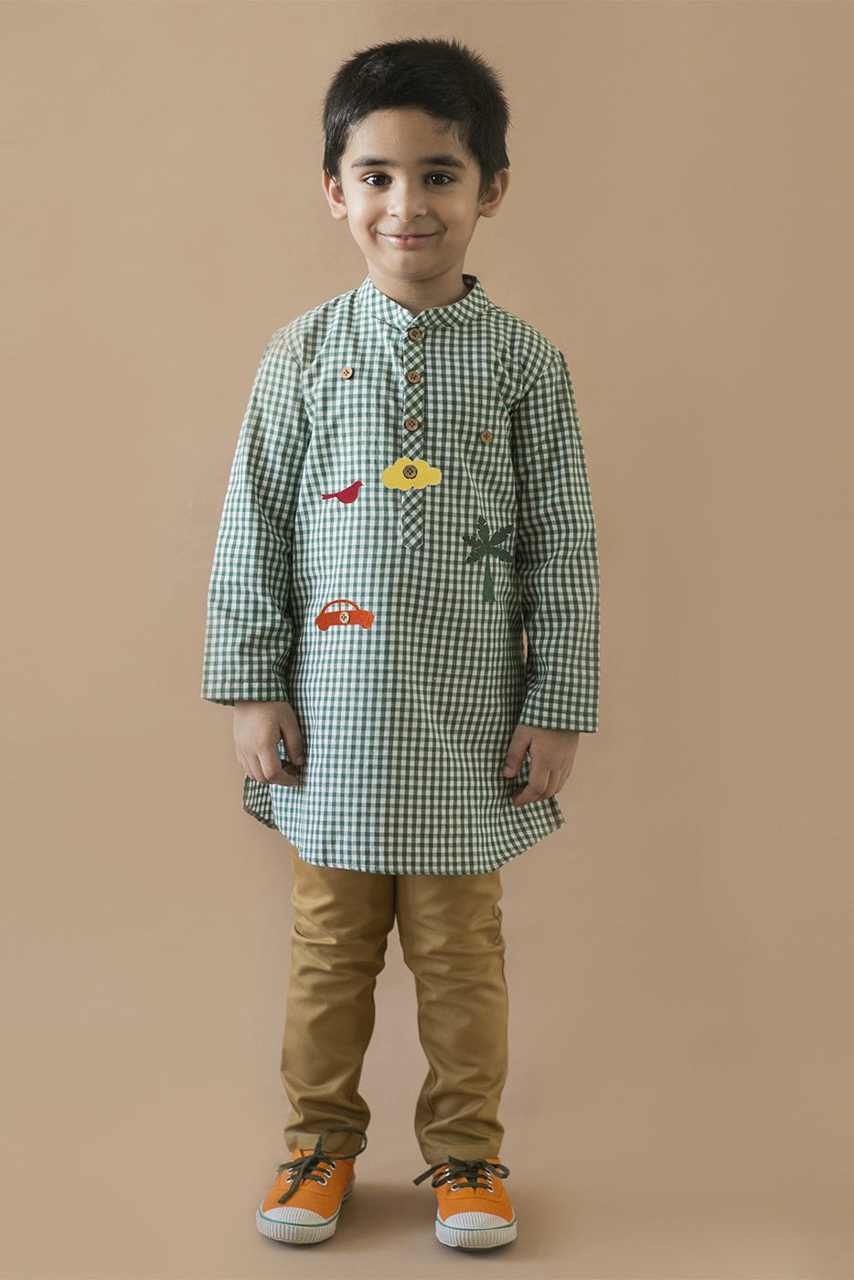 Boy Green Checks Kurta With Felt Toys
