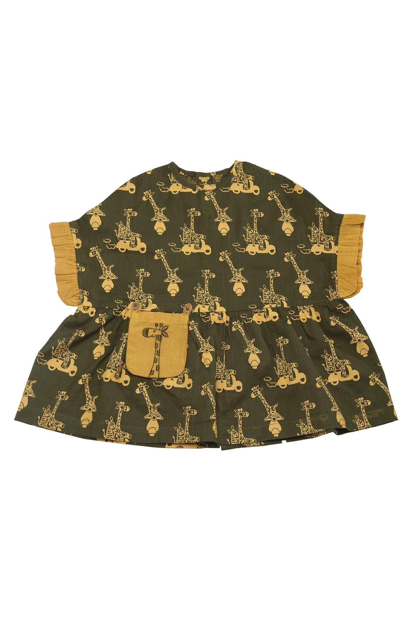 Girl Jungle Print Olive Top