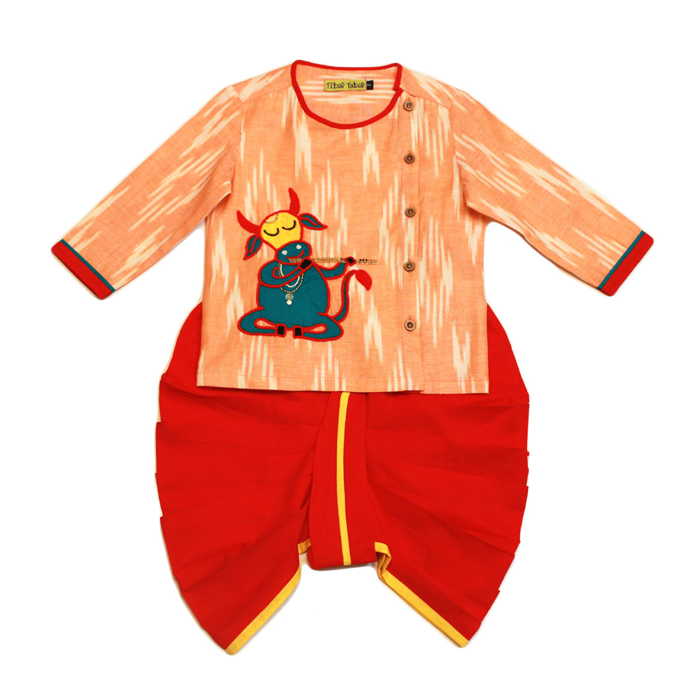 Boy Orange Cow Kurta Dhoti Set