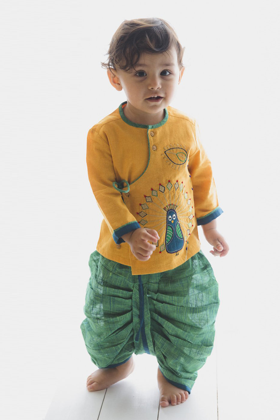 Boy Mustard Peacock Dhoti Set