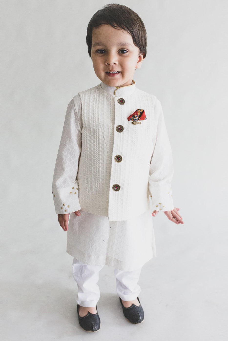 Boy White Jacquard Bundi 3 Pc Kurta Set