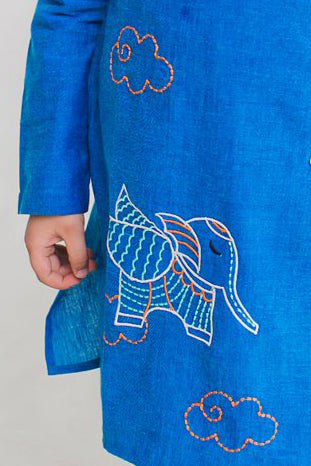 Boy Blue Gond Elephant Kurta Set