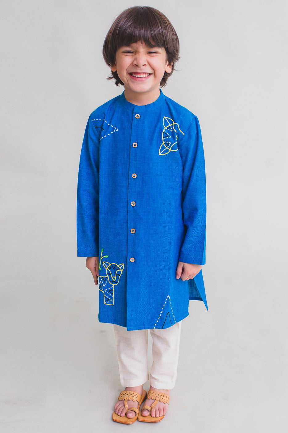 Boy Blue Gond Tiger Kurta Set