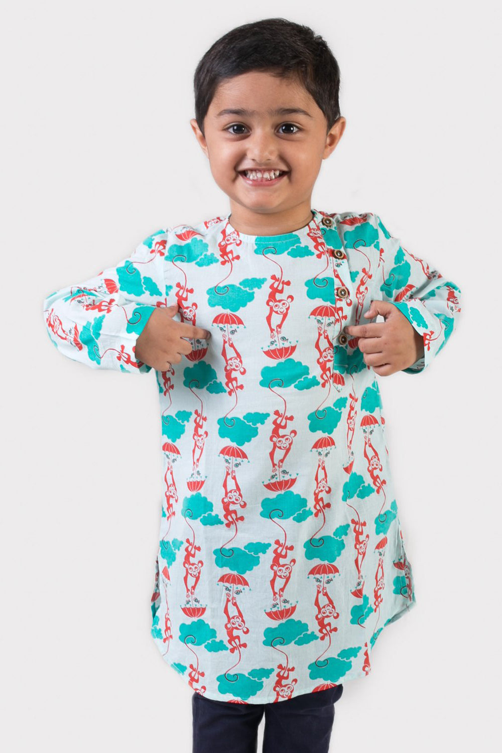 Boy Blue Monkey Kurta