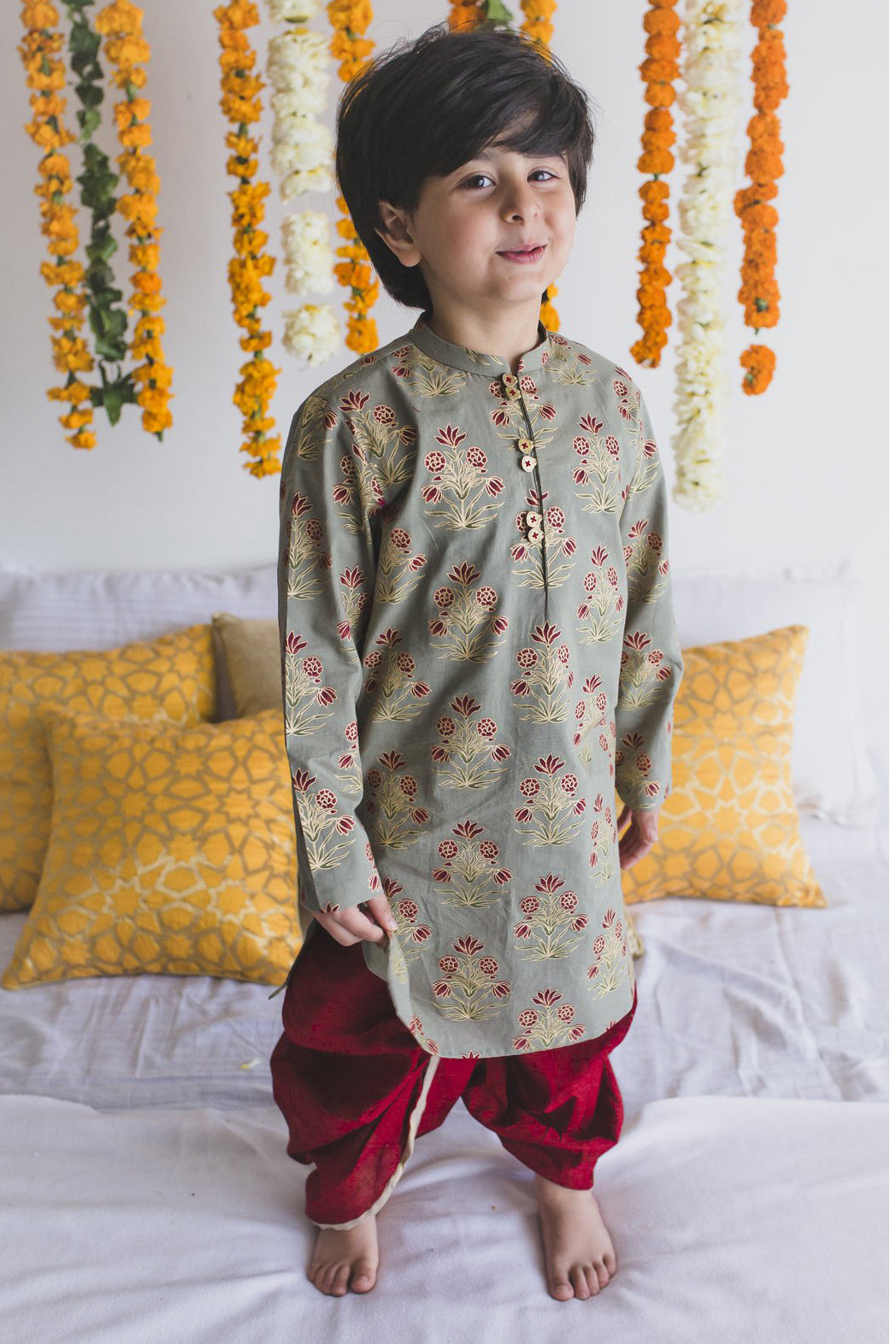 Boy Kurta Set Grey Floral