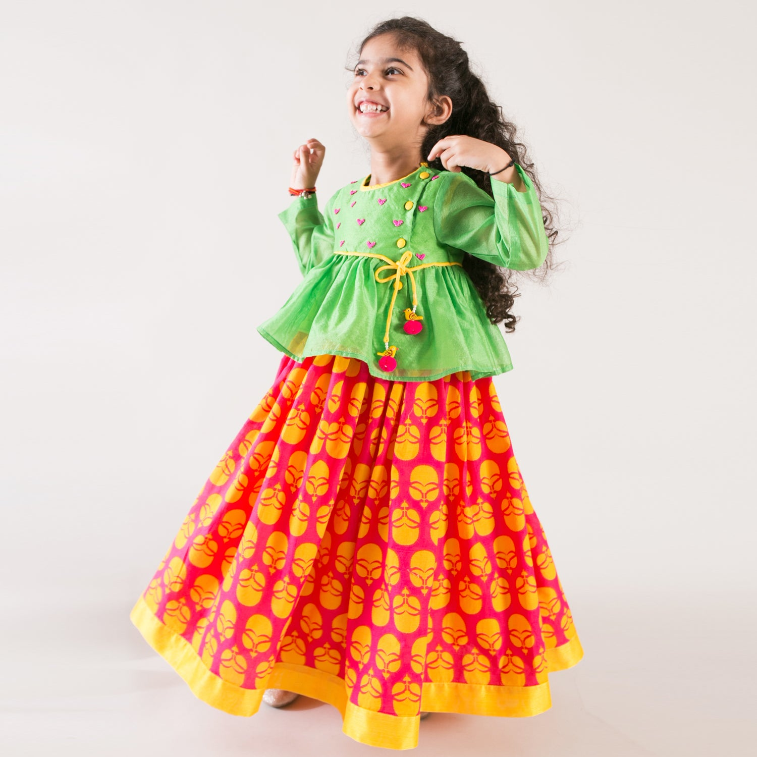 Girl 2 Pc printed heart Lehenga Dress
