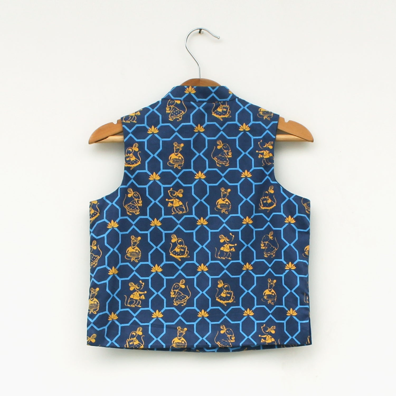 Boy Blue Mouse Print Nehru Jacket