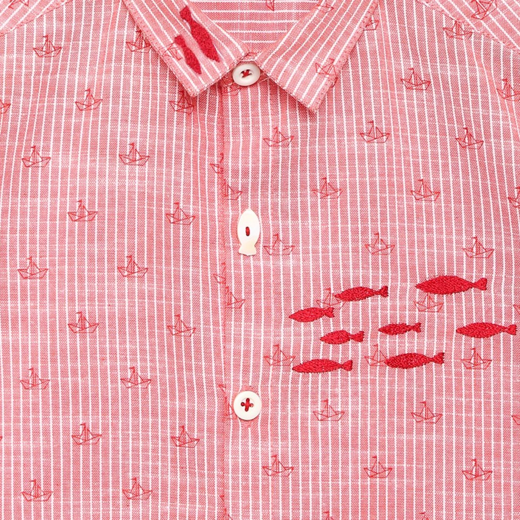 Boy Red Ship and Fish Stripe Shirt