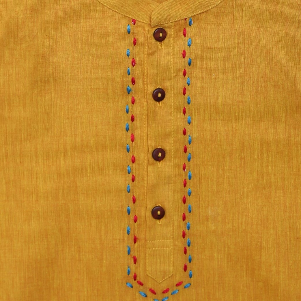 Boy Mustard Cow Kurta Set