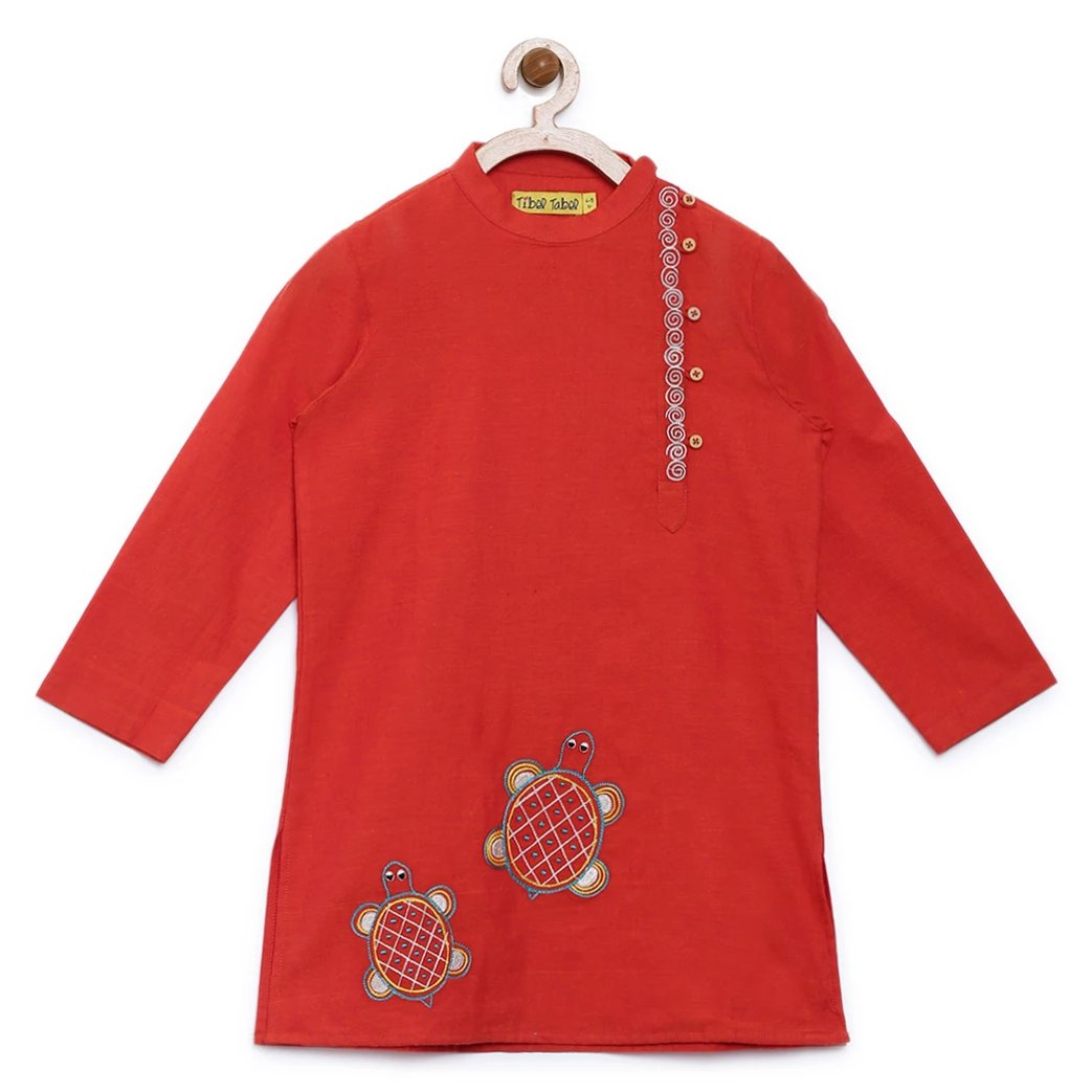 Boy Orange Tortoise Kurta Set