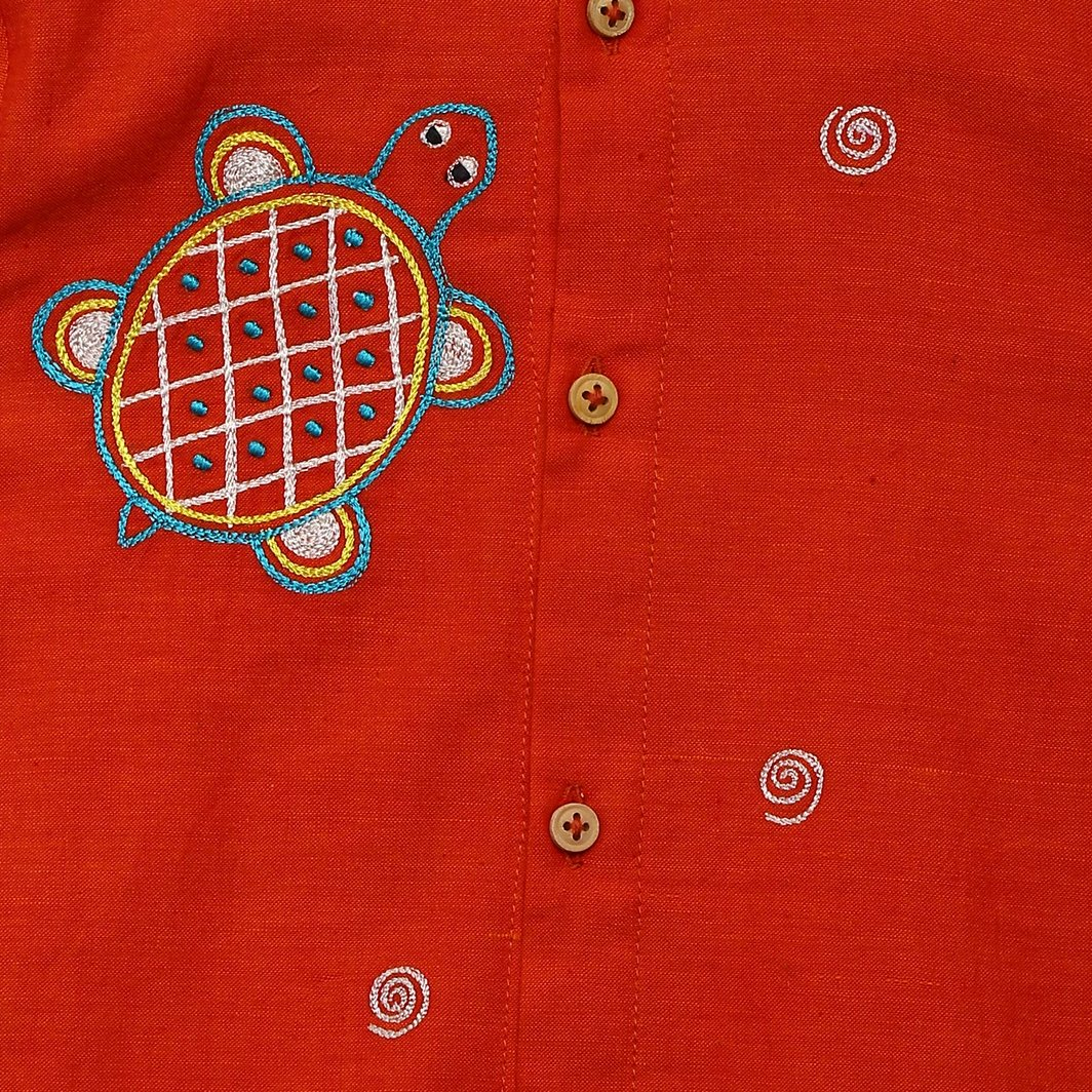 Baby Boy Orange Tortoise Kurta Set