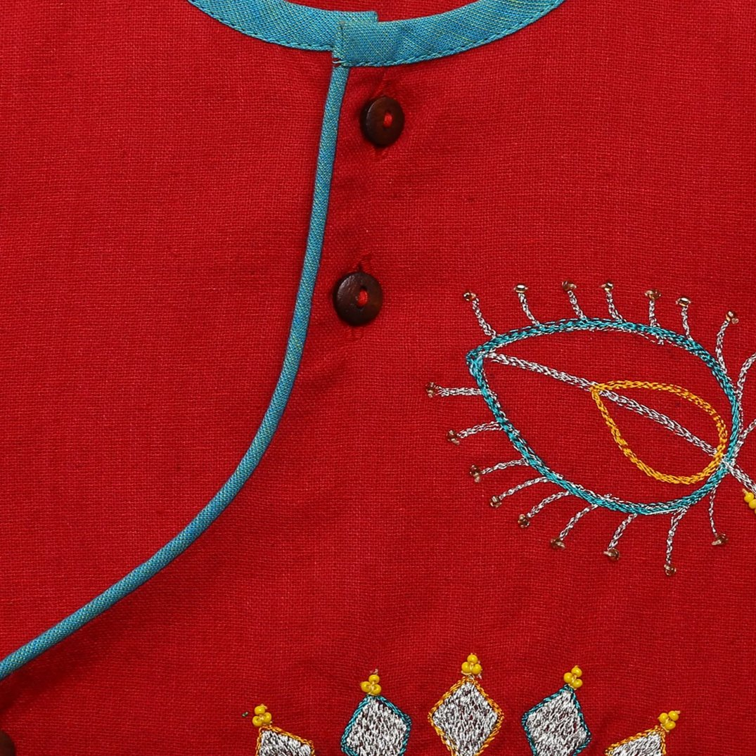 Boy Red Peacock Dhoti Set