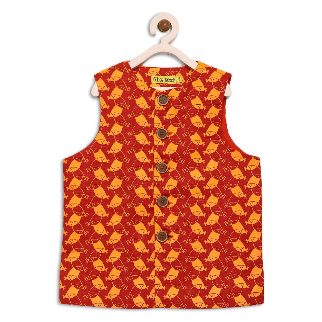 Boy Red Bird Print Nehru Jacket
