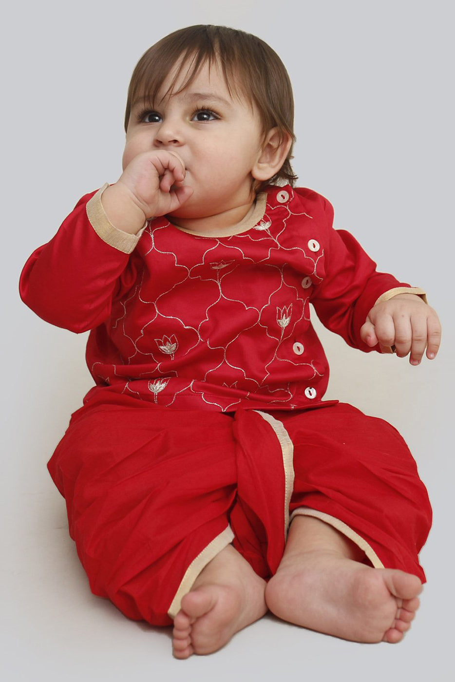 Baby Boy Red Jaal Dhoti Set