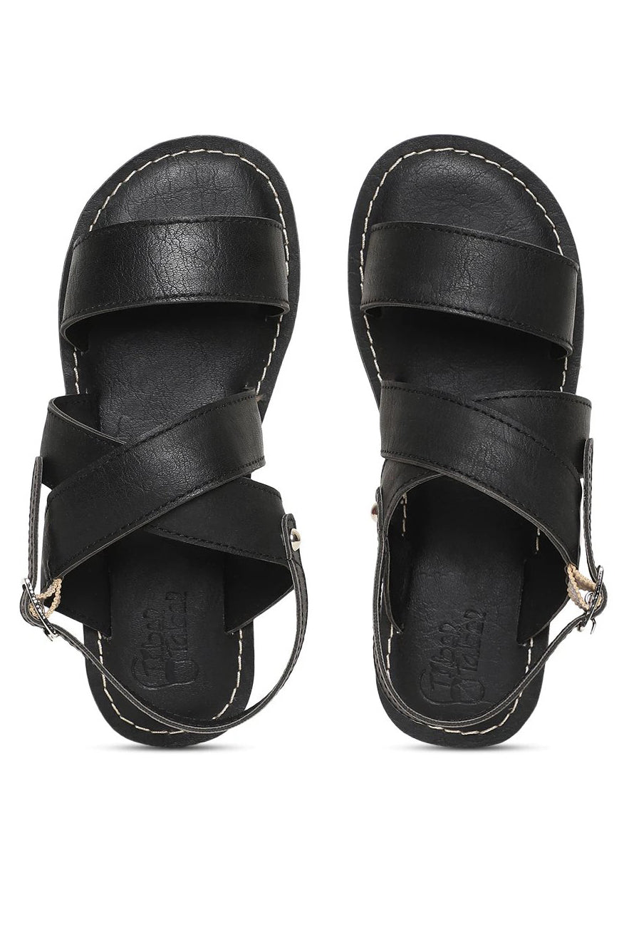 Boy Black Criss Cross Sandal