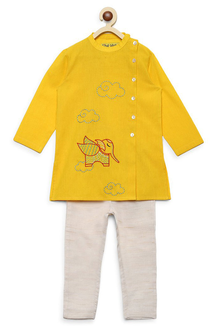 Boy Yellow Gond Elephant Kurta Set