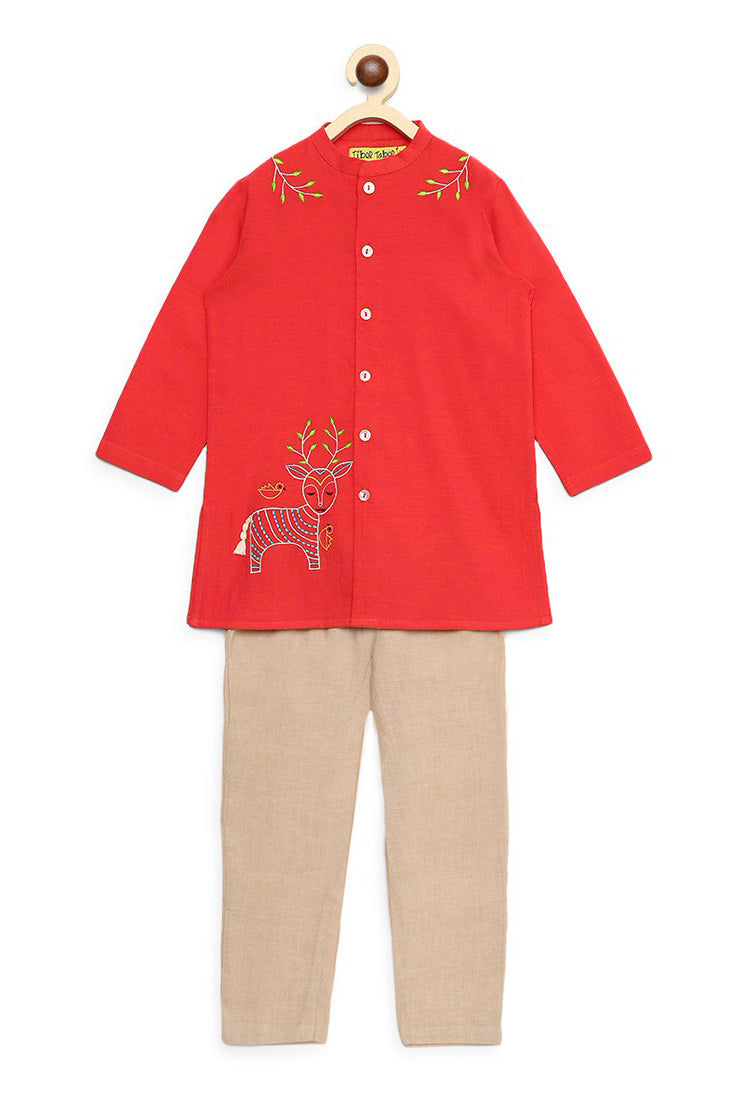 Boy Peach Gond Deer Kurta Set