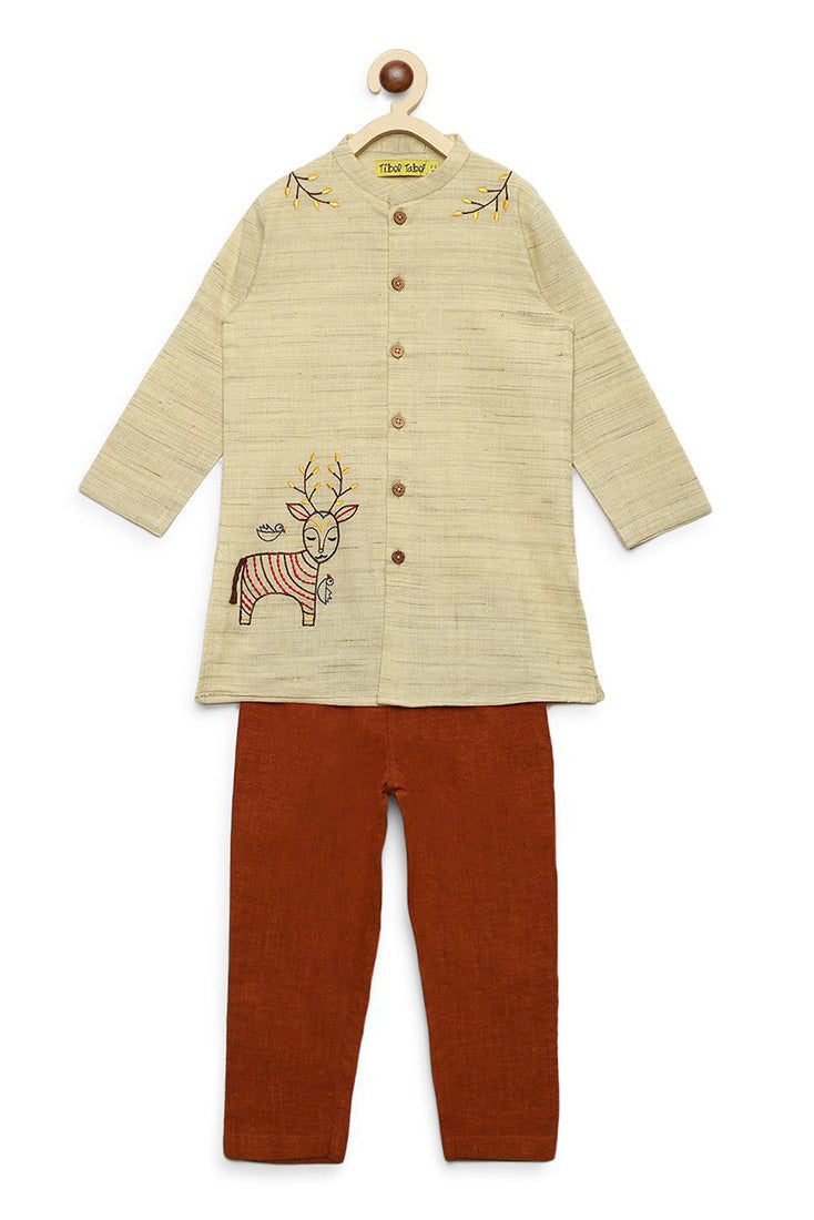 Boy Ginger Gond Deer Kurta Set